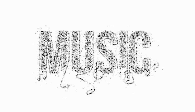 Music calligraphic line art particle text poster vector illustration design.