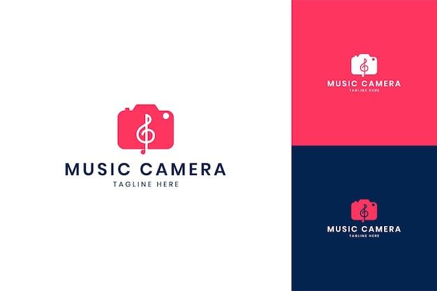 Music camera negative space logo design
