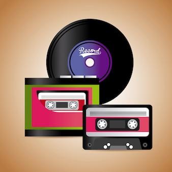 Музыкальная кассета и виниловый графический дизайн