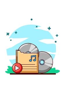 Музыкальная кассета с иллюстрацией шаржа кнопки воспроизведения