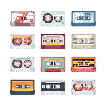 Music cassettes. electronics audio player mixtape 80s technologies stereo record radio flat pictures. illustration cassette multimedia, equipment old media