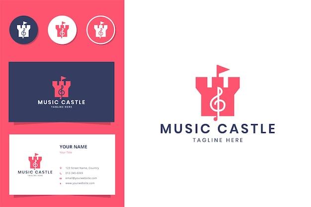 Music castle negative space logo design