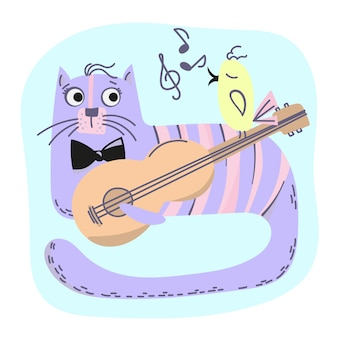 Music cat comic animal cartoon vector illustration set