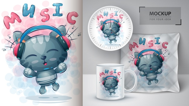 Music cat poster and merchandising