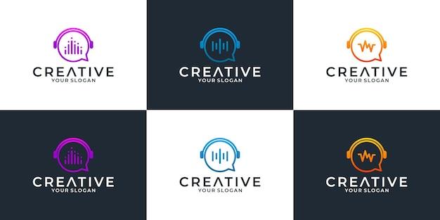 회사 또는 그룹 커뮤니티를 위한 음악 채팅 로고 디자인 템플릿