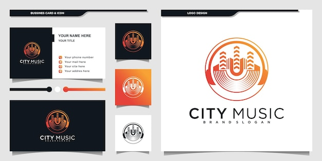 Music city logo design inspiration with modern circual line art shape and business card premium vecto