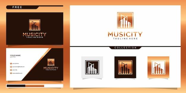 音楽都市のロゴのテンプレートと名刺