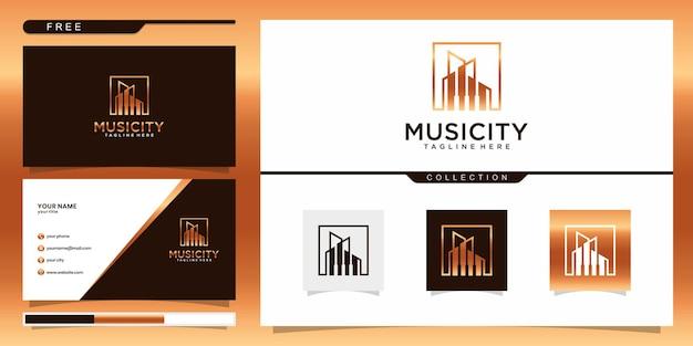 음악 도시 로고 템플릿 및 명함