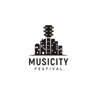Music and city skyline logo