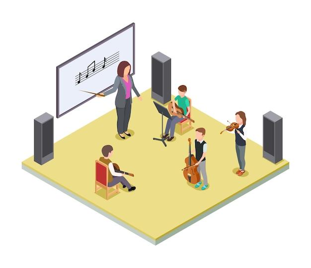 음악 수업. 학교 오케스트라 수업 벡터 개념입니다. 어린이의 아이소 메트릭 음악 수업. 음악 학교 수업, 공연 오케스트라 그림
