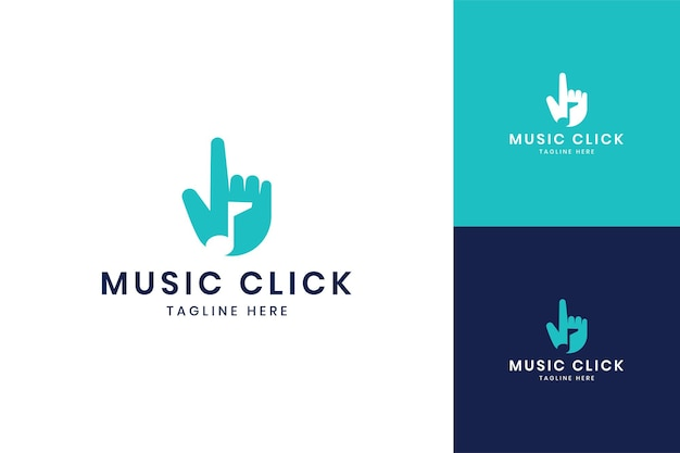 Music click negative space logo design