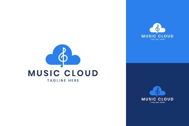 ミュージッククラウドネガティブスペースのロゴデザイン