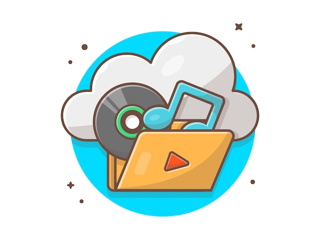Music cloud storage with vinyl, tune and note of music  . sound cloud icon white isolated
