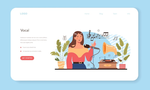 Music club or class web banner or landing page students learn to play music