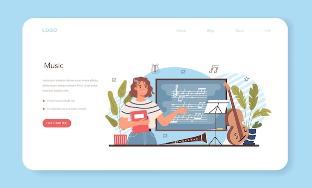 Music club or class web banner or landing page students learn