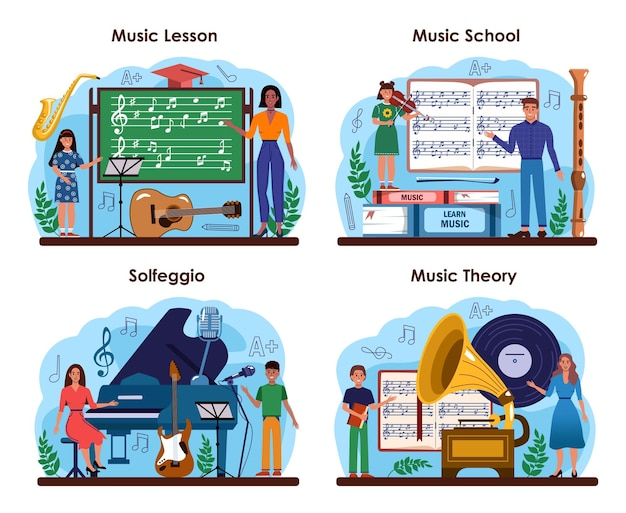 Music club or school set. students learn to play music. young musician playing musical instruments. theory of music and solfeggio class. flat vector illustration