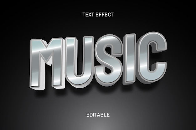 Музыкальный цвет серебристый редактируемый текстовый эффект