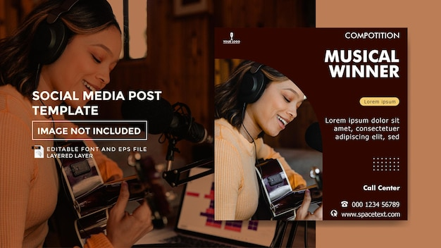 Шаблон сообщения в социальных сетях на тему музыкального конкурса