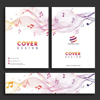 Music concept, cover design and web header set.