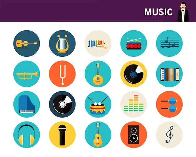 Music concept flat icons.