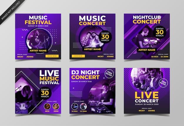 Музыкальный концерт и шаблон сообщения в социальных сетях dj party