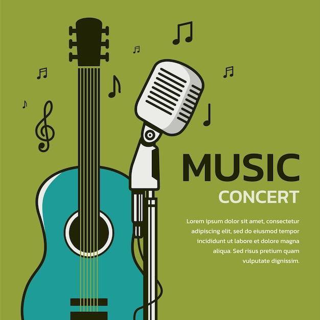 Music concert banner with acoustic guitar and microphone vector illustration