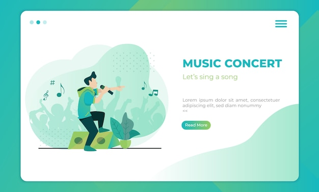 Music concert illustration on landing page template