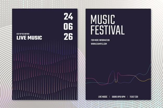 Vettore del modello del manifesto del concerto di musica con la grafica dell'onda sonora per il set pubblicitario