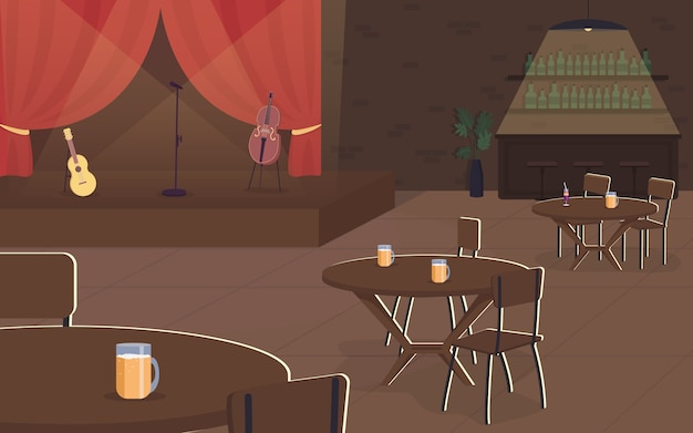 Music concert in pub flat color illustration. live musical performance in cafe. restaurant with spotlife. nightlife entertainment. bar 2d cartoon interior with stage on background
