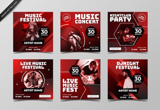 Музыкальный концерт баннер в социальных сетях для шаблона сообщения в социальных сетях