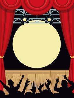 ファンのシルエットを使った音楽コンサートステージ