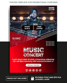 Music concert theme poster template