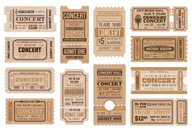 音楽コンサートのチケット、レトロな許可。