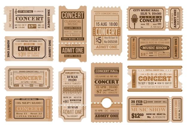 Music concert tickets, retro admits.