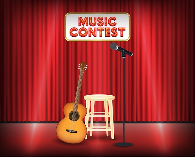 Music contest stage with guitar and microphone