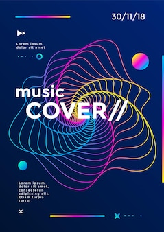 Music cover or poster design. sound flyer with abstract gradient line waves.