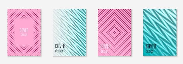 音楽カバー。紫と青。メンフィスの証明書、プラカード、小冊子、ページレイアウト。ミニマリストの幾何学的なラインとトレンディな形の音楽カバー。