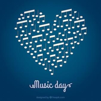 音楽の日、心臓の背景