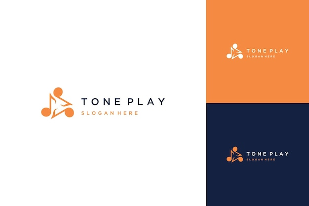 Music design logo or musical tone with the play button