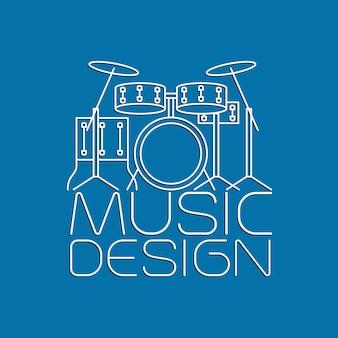 ドラムキットのロゴ入り音楽デザイン