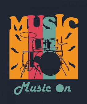 Music drum for t shirt design