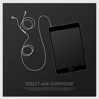 Music earphones with tablet illustration