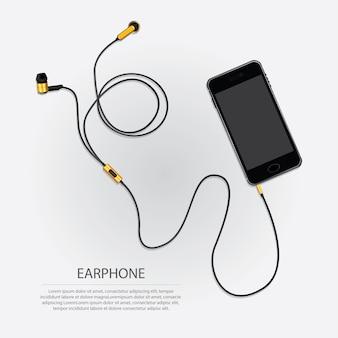 Music earphones with telephone illustration