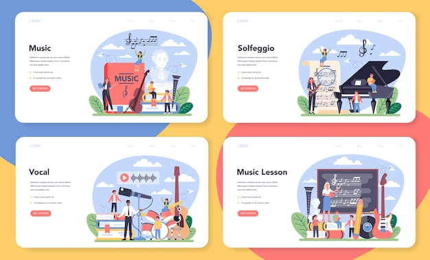 Music education course web banner or landing page set.