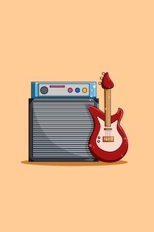 音楽エンジンとベースギターの漫画イラスト