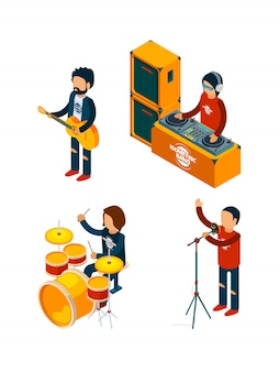 Music entertainment isometric. singer rock musician crowd drummer violinist guitar drum musical keyboard synthesizer