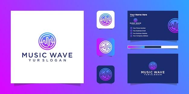 Звуковая волна с логотипом музыкального эквалайзера и визитная карточка