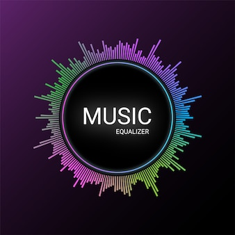 Music equalizer on purple gradient