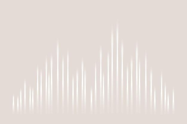 흰색 디지털 음파가 있는 음악 이퀄라이저 기술 베이지색 배경