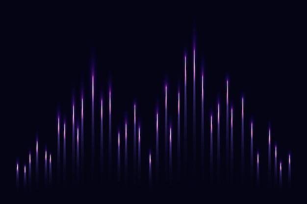 보라색 디지털 음파와 음악 이퀄라이저 기술 검은 배경